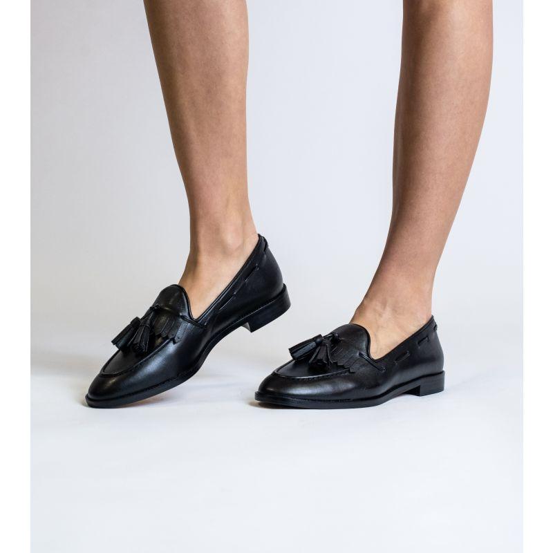 Alice Black Vegan Leather Tassel Loafer image