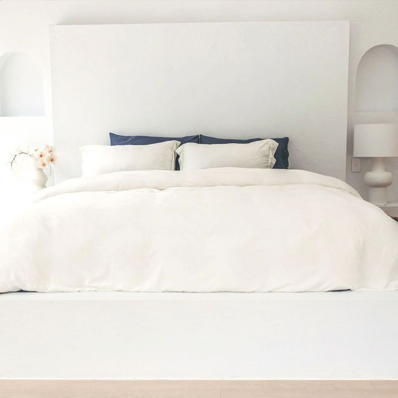 Double Bamboo Duvet Cover With 2 Pillow Slips In White image