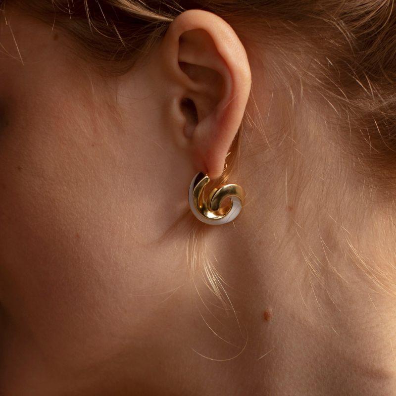 MILA Gold Plated Ceramic Swirl Earrings image