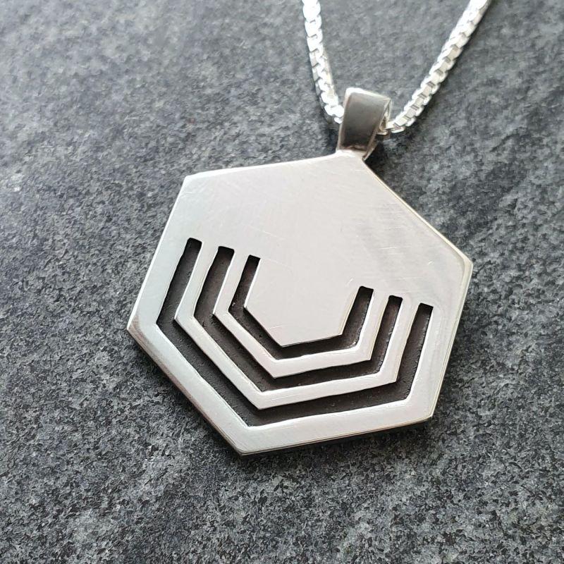 Black Hexagon Pendant 24'' image