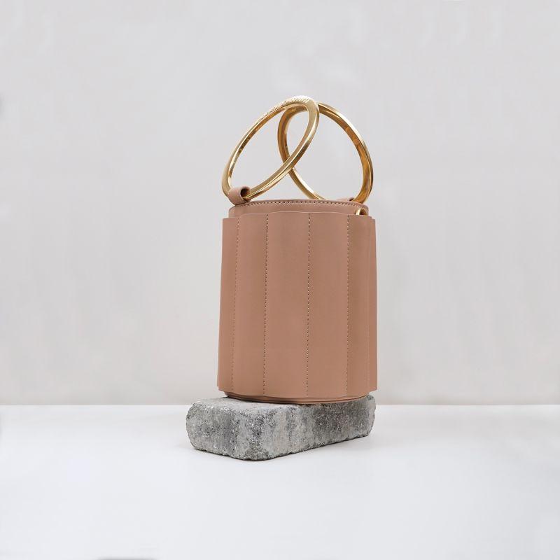 Water Metal Handle Small Bucket Bag - Nude image