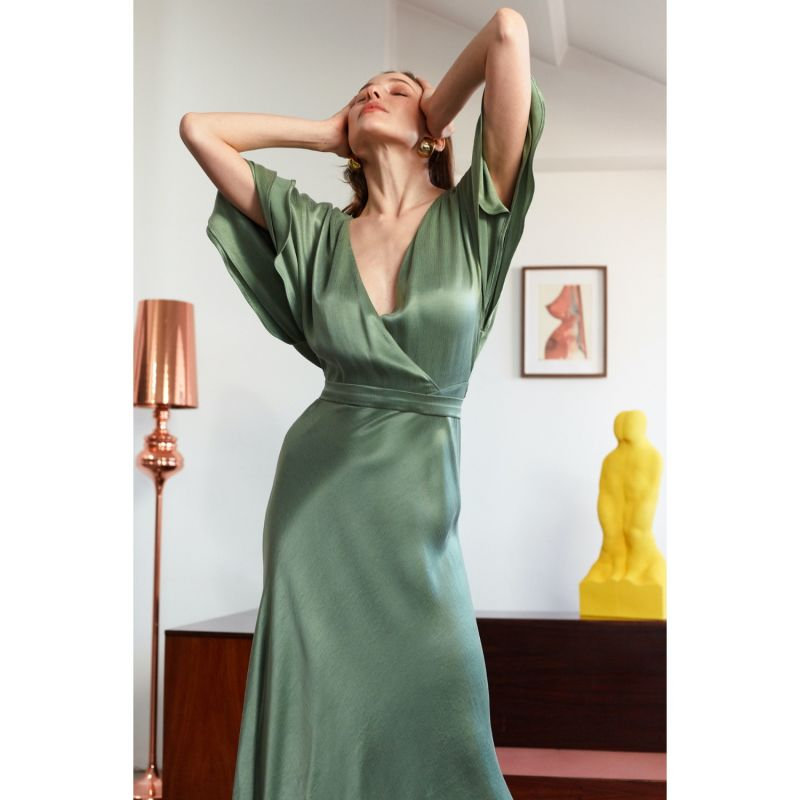 Sonya Fern Green Midi Dress With Butterfly Sleeves image