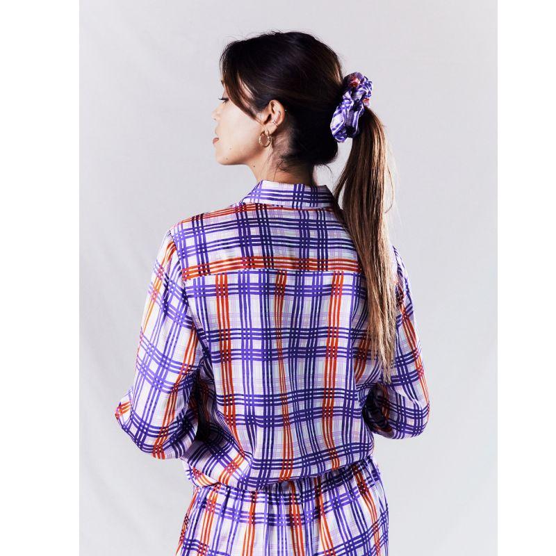 Silk Scrunchie - Periwinkle Plaid image
