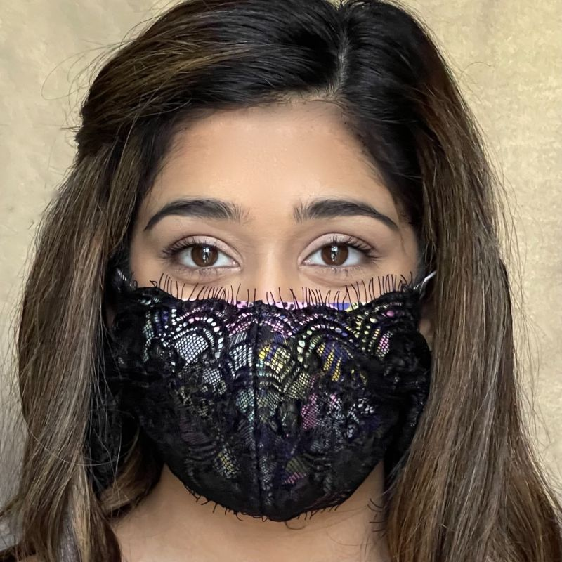 Tropical Hibiscus Lace Mask image