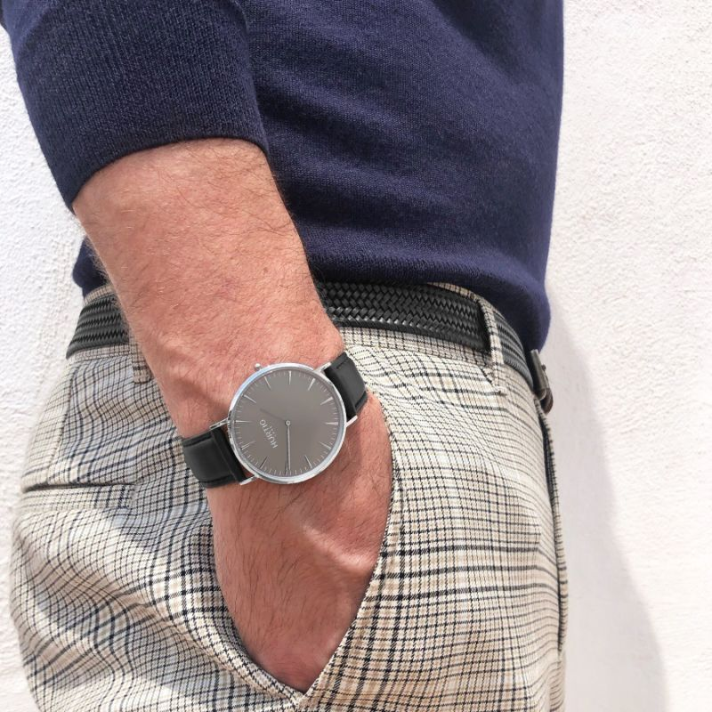 Mykonos Vegan Leather Men's Watch Silver, Grey & Black image