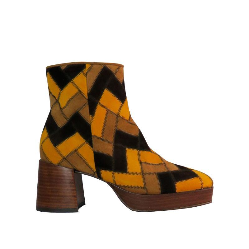 SEYE - MultiTan Handmade Patchwork Platform Boots image