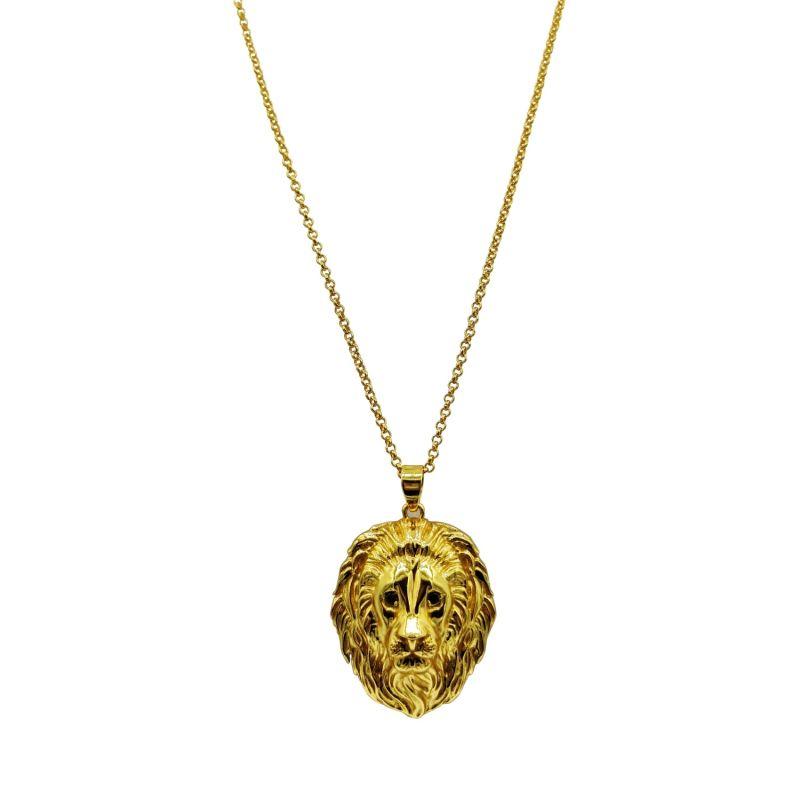 Black Diamond Lion Necklace in 18k Gold Vermeil image