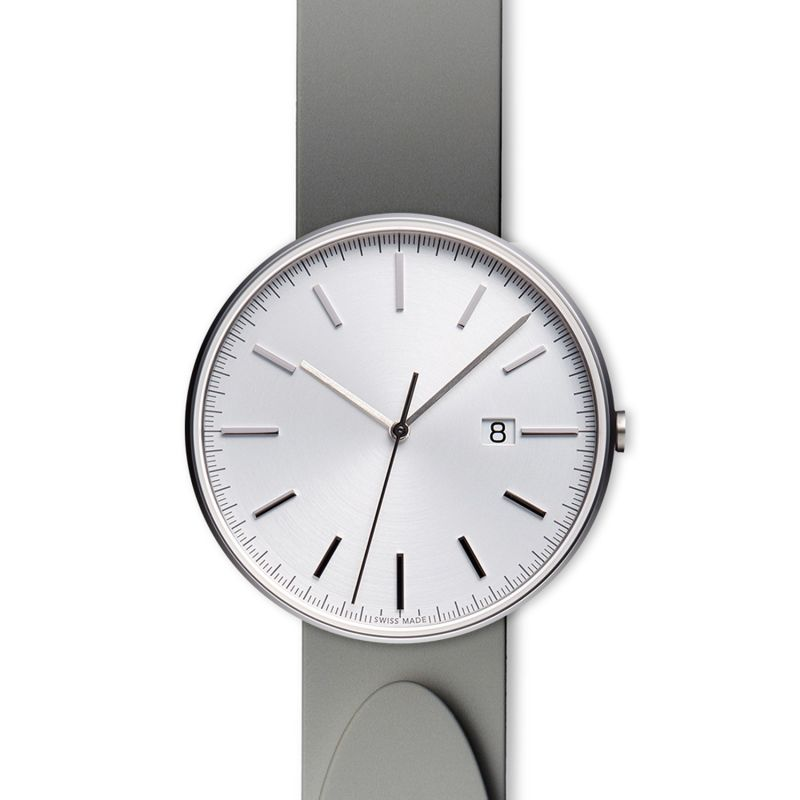 Men's M40 Precidrive Three-Hand Date Watch In Brushed Steel With Nitrile Grey Rubber Strap image