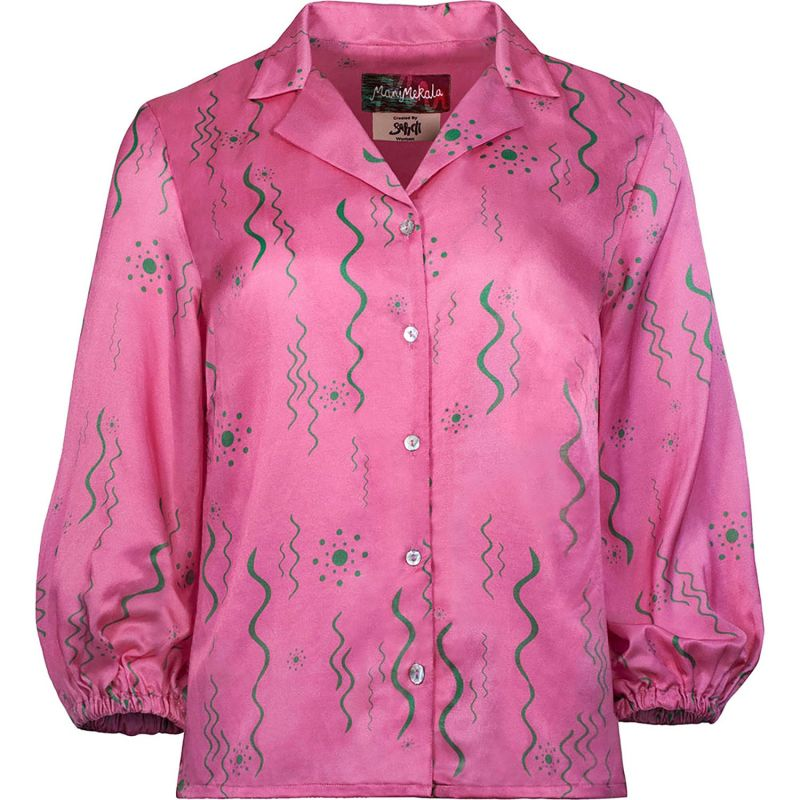 Pink Silk Abstract Squiggle Print Blouse image