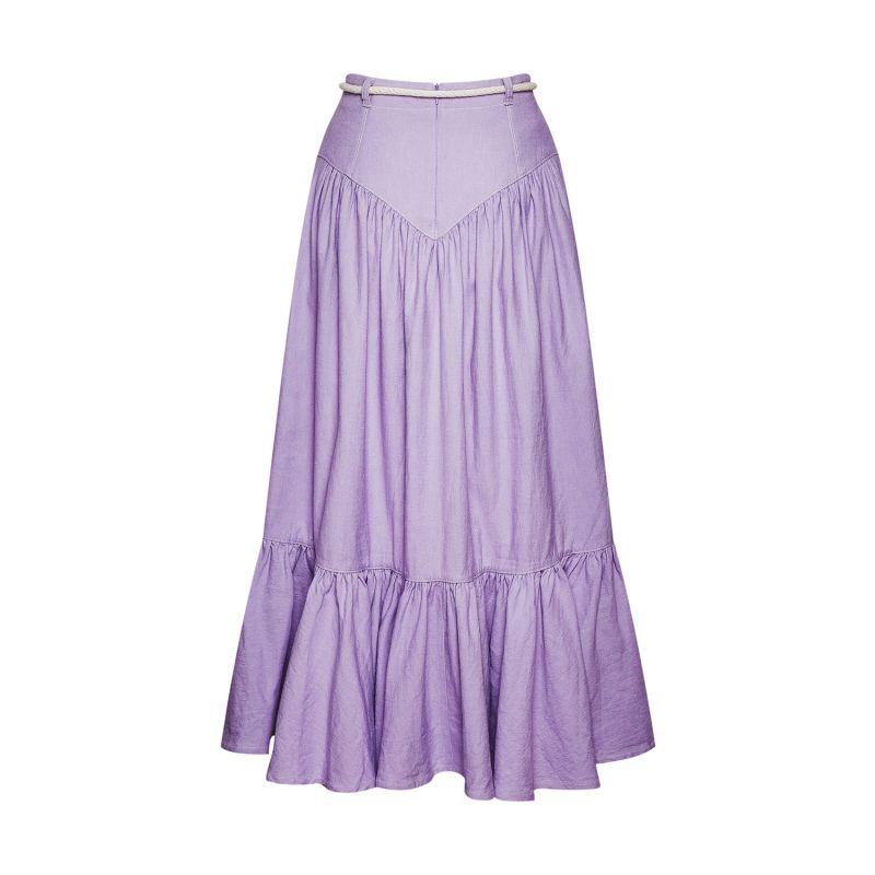 Tiered Organic Cotton & Linen-Blend Maxi Skirt image