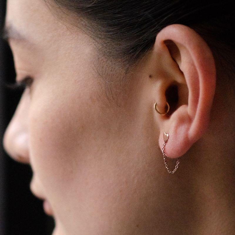 Rose Gold Heart Chain Drop Stud Earrings image