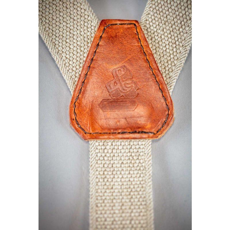 &Sons Cream Cotton Leather Braces image