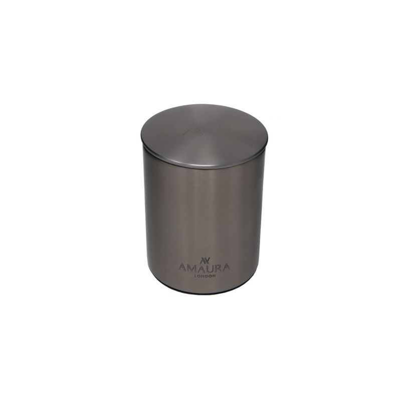Tranquillity Frankincense Patchouli & Warm Amber Eco Luxury Candle In Stainless Steel Chrome Finish image