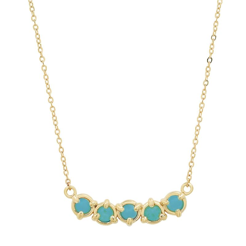 14K Gold Claw 3 Prong Curve Necklace Sleeping Beauty Turquoise image