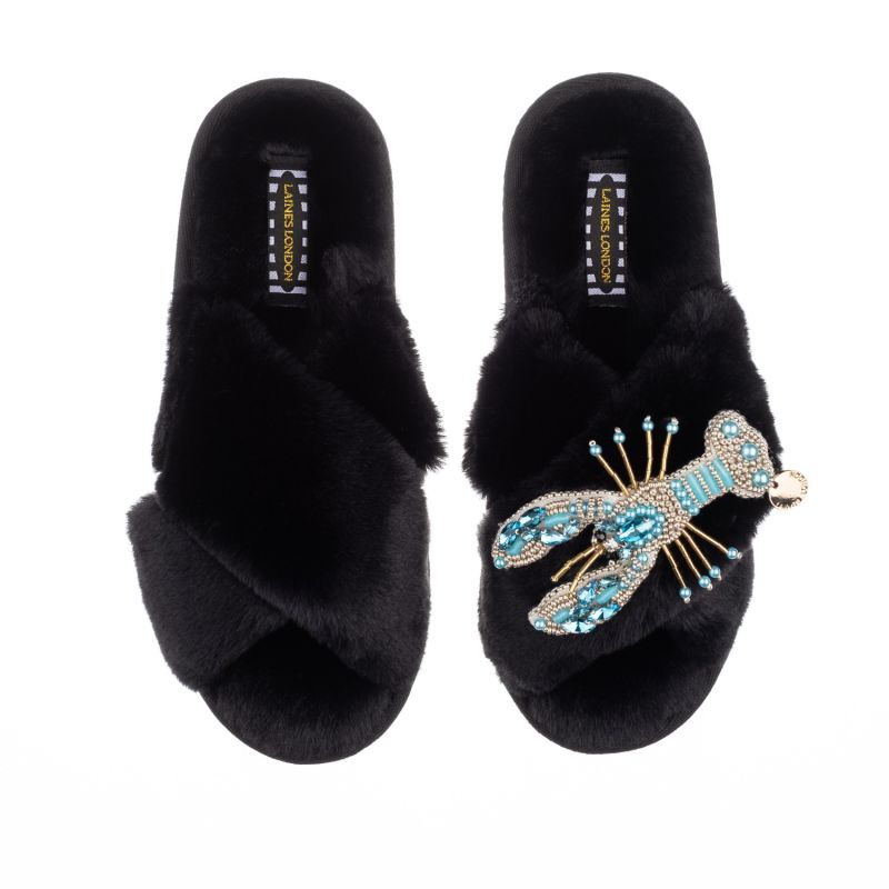 Classic Laines Black Slippers With Artisan Pearl Blue Lobster Brooch image