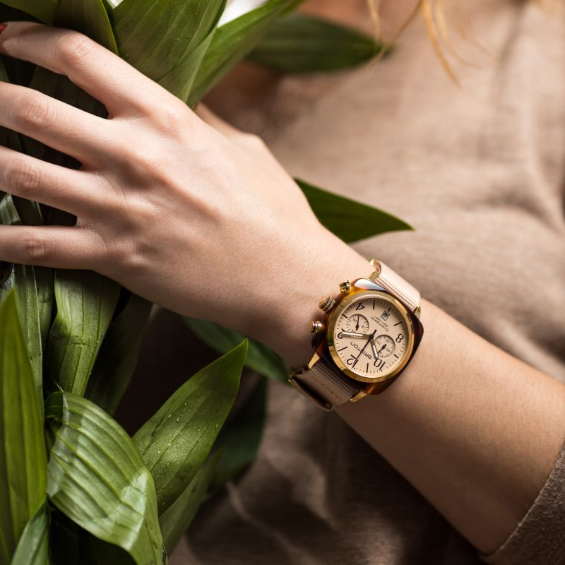 Briston Clubmaster Classic Terracotta Nude Colour With Yellow Gold Finishings image