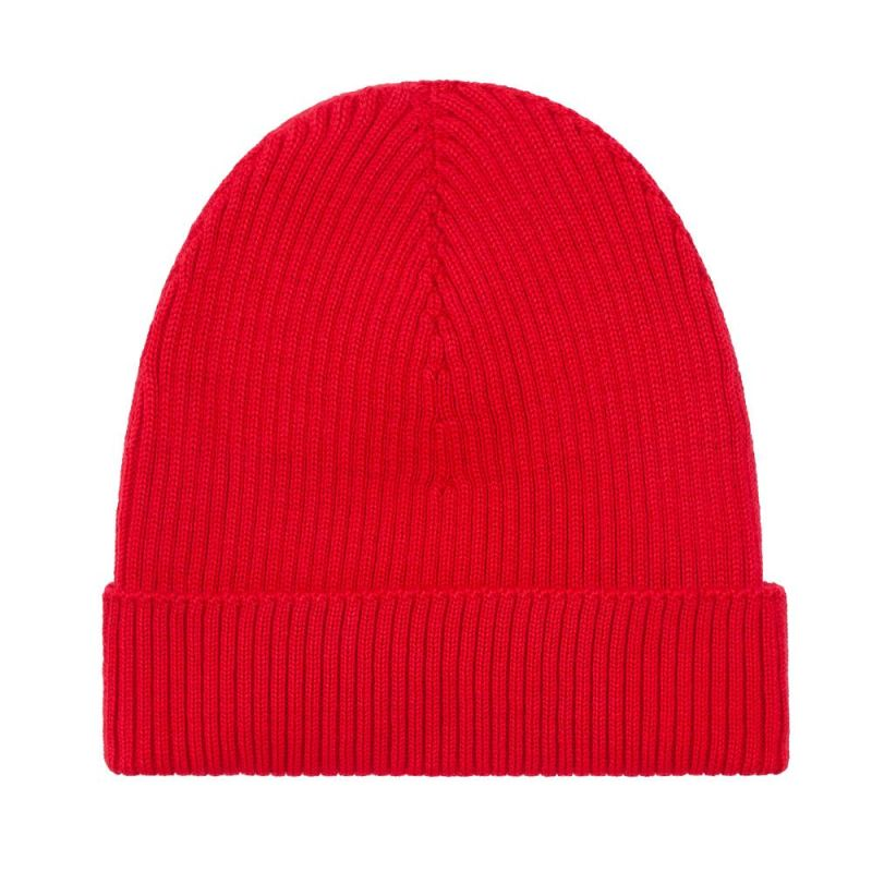 Lightweight Ribbed 100% Extra Fine Merino Beanie Hat Red image
