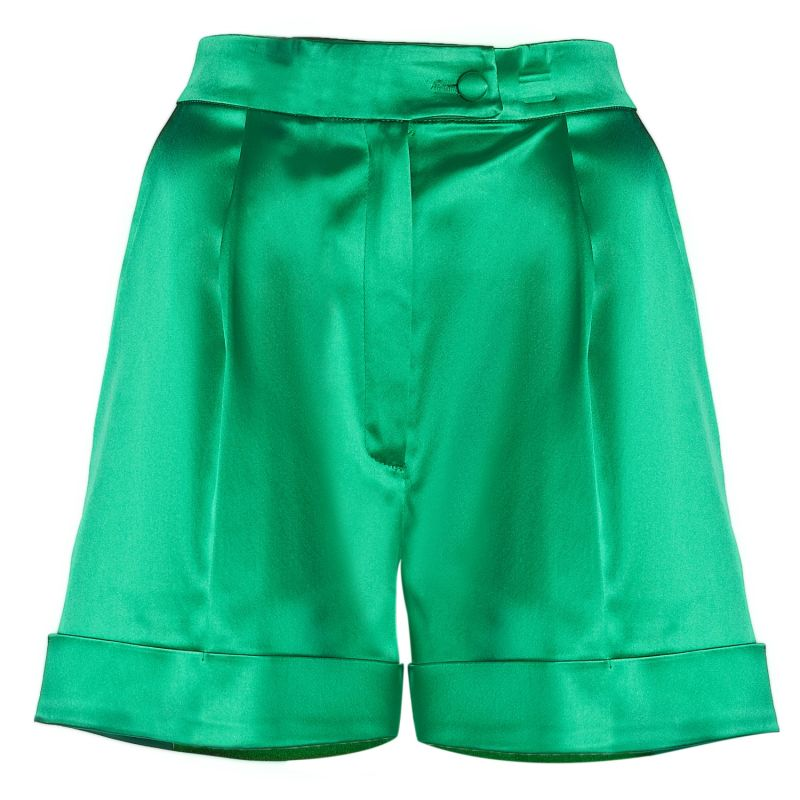 High-Waist Satin Tailored Shorts (Green) image
