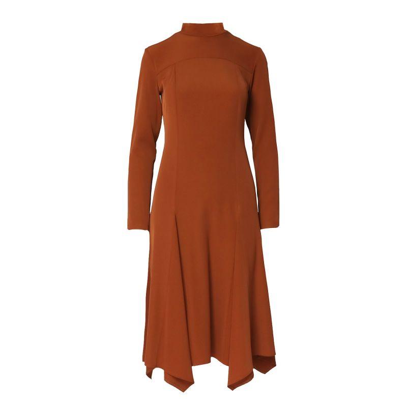 Flared Brick Orange Midi Dress With High Neck image