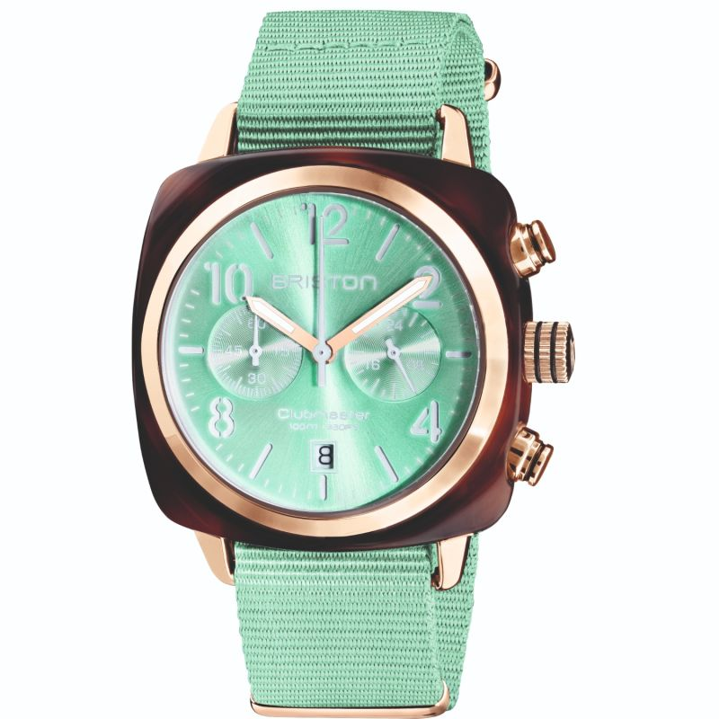 Briston Clubmaster Classic Chronograph Tortoise Shell Acetate, Sunray Green Water Dial And Rose Gold image