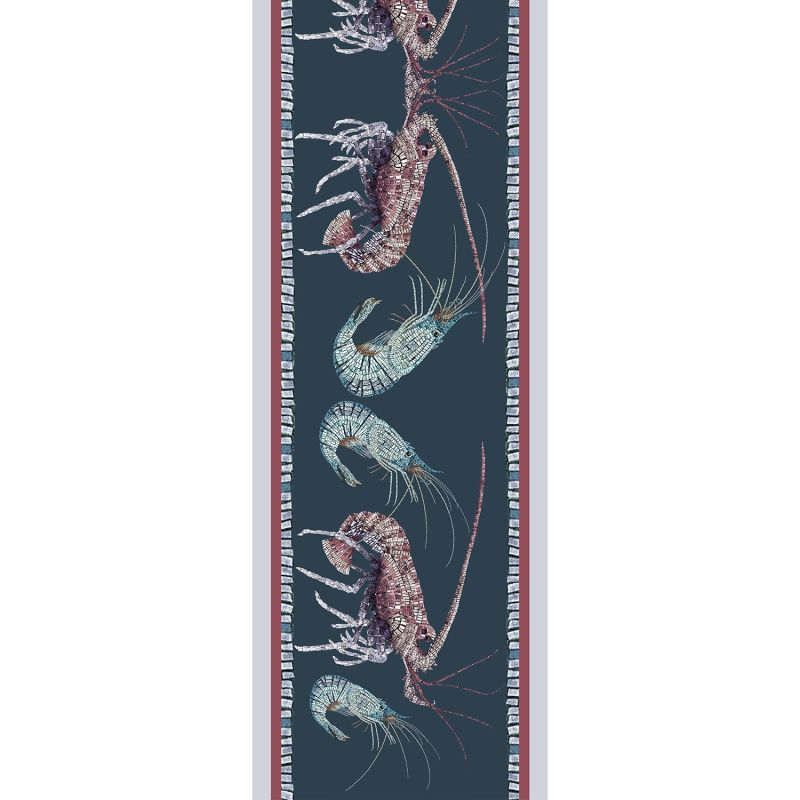 Lobster and Prawn mosaic Small Silk Scarf image