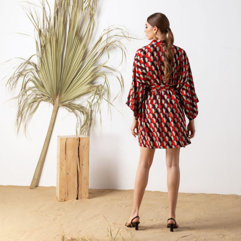 Kimono Wrap Dress In 70'S Print Massami image