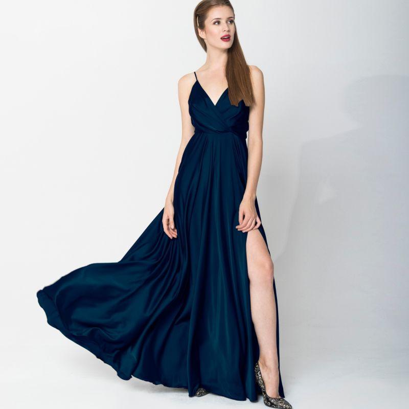 Satin Long Dress Navy Blue image