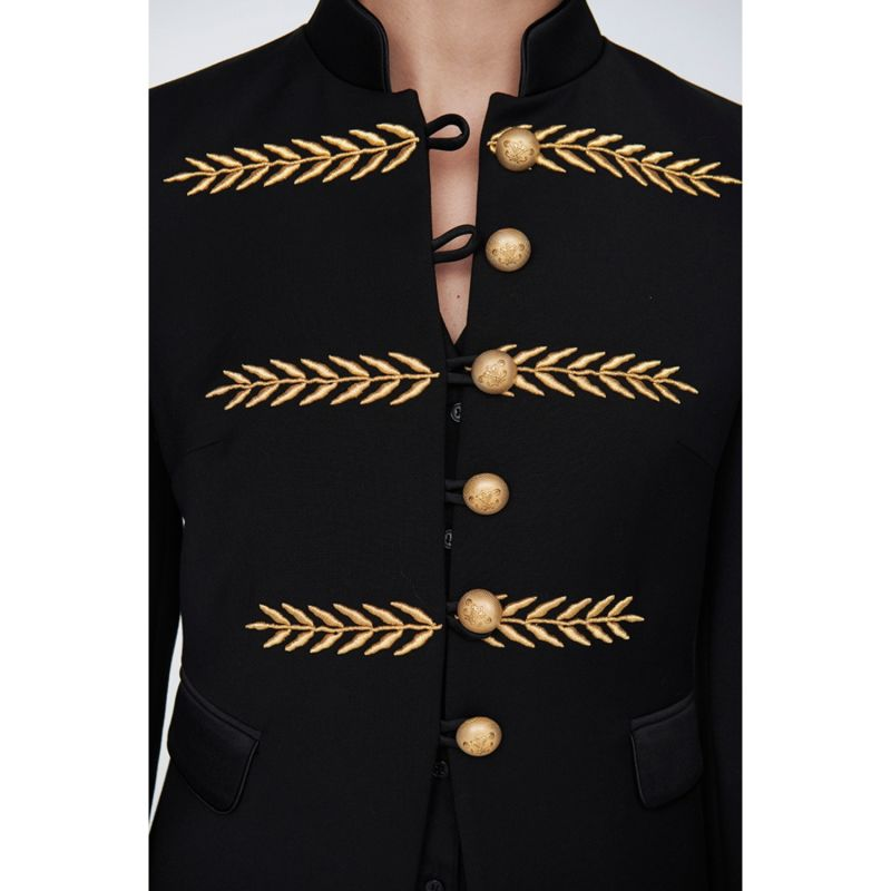 Black Military Blazer Renata Gold image
