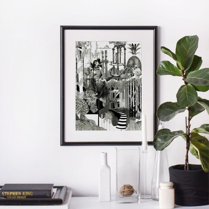 Botanical Jungle Monochromatic - Signed Art Print A2 image