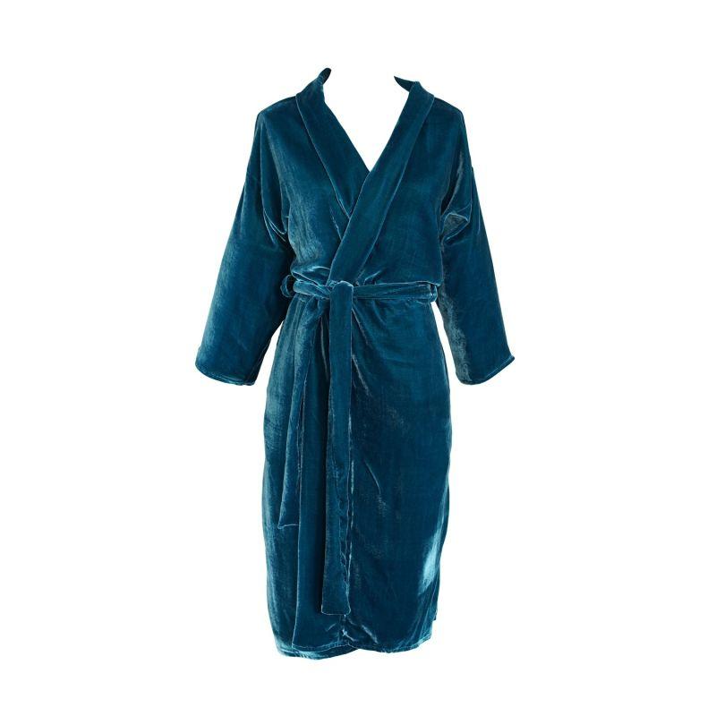 Peacock Silk Velvet Koi Kimono image