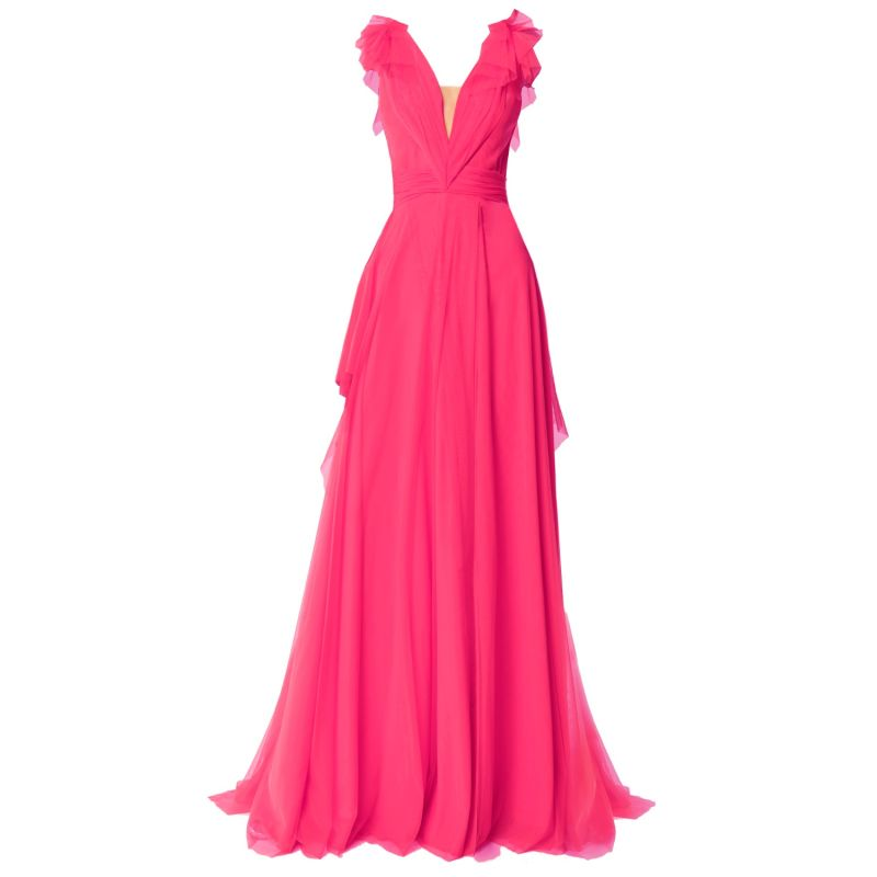 Elegant Tulle Maxi Dress Fuchsia image