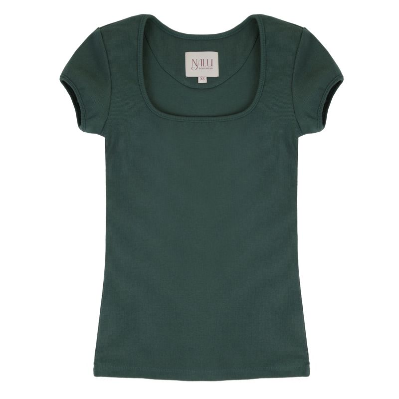 Square Neck Green T-Shirt – 90S Style image