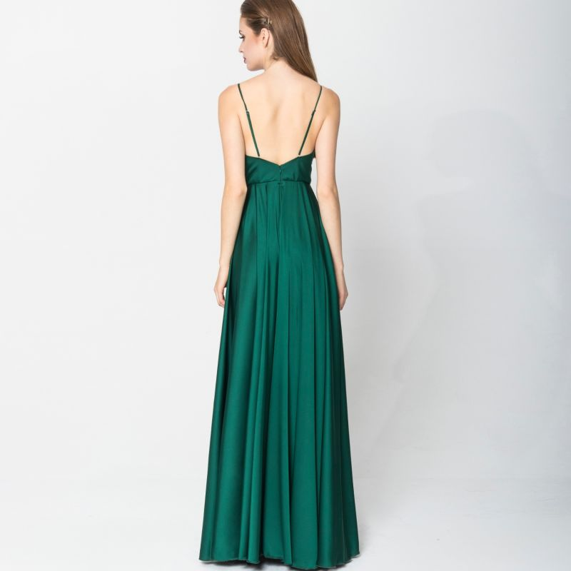 Satin Long Dress Emerald image