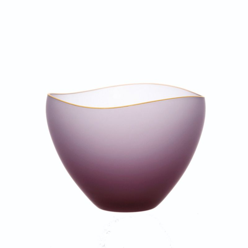 """Saki Handcrafted Glass Bowl With Gold Rim - Frosted Wine Red 3.7"""" image"""