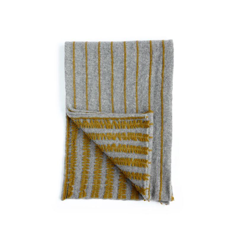 Silver & Ochre Lambswool Pinstripe Wrap image