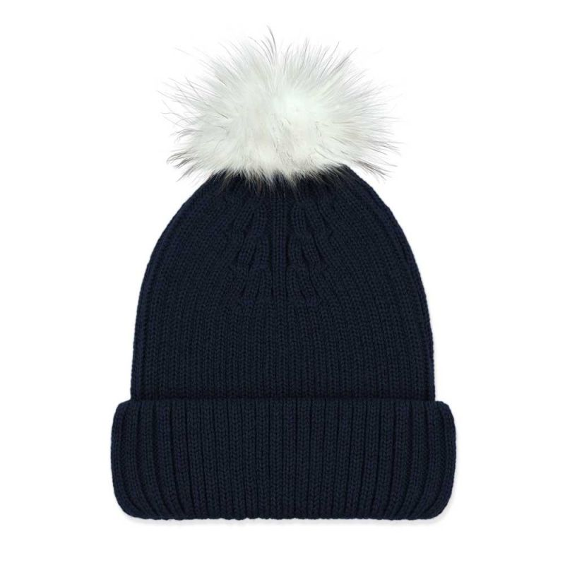 Women's Pure Merino Ribbed Beanie With Interchangeable White Faux Fur Pompom Navy image