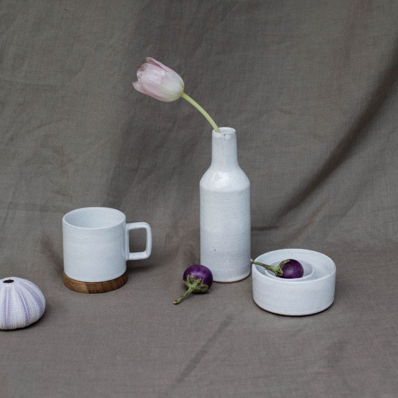 Narti Kecil Ceramic Oil Bottle - Brushed White image