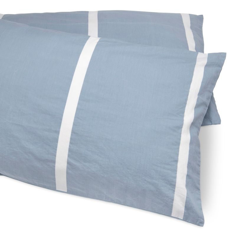 Reversible Cool Blue Vertical Bedding Set King image