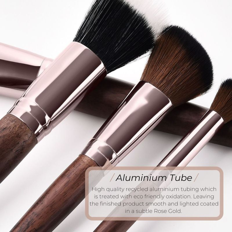 Vegan Angled Contour Makeup Brush - Sustainable Wood & Rose Gold image