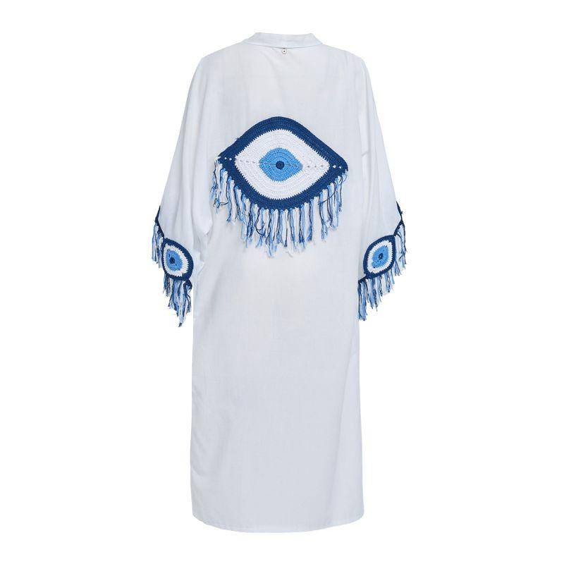 Evil Eye Kaftan In White image