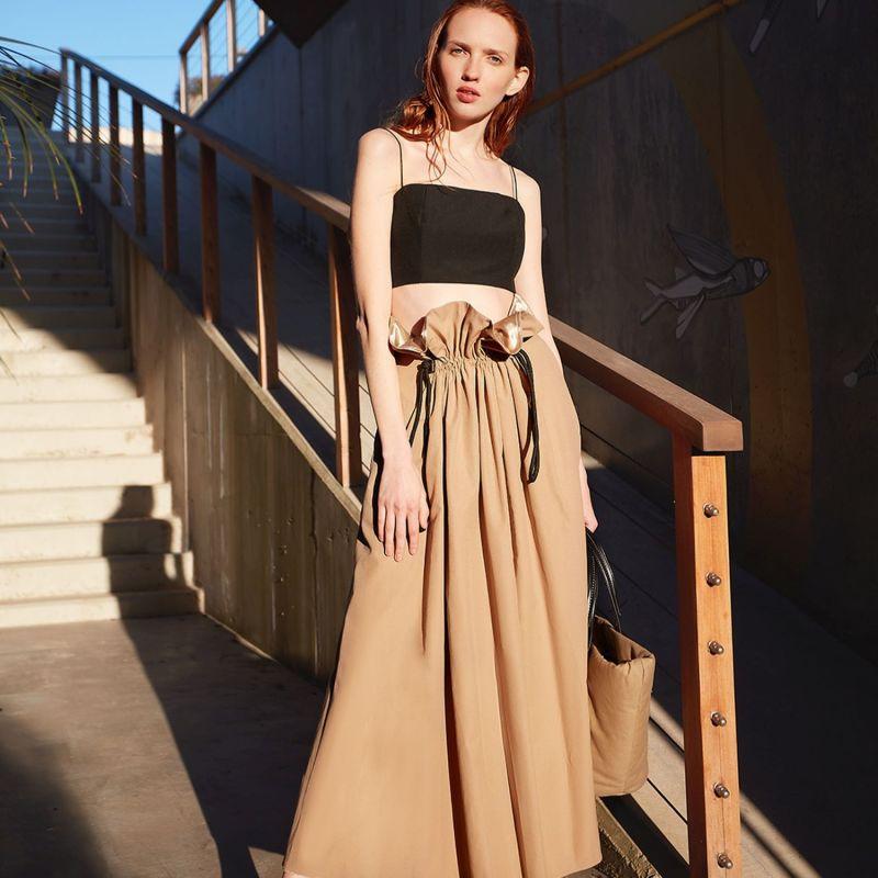 Adjustable Waist Poplin Skirt image