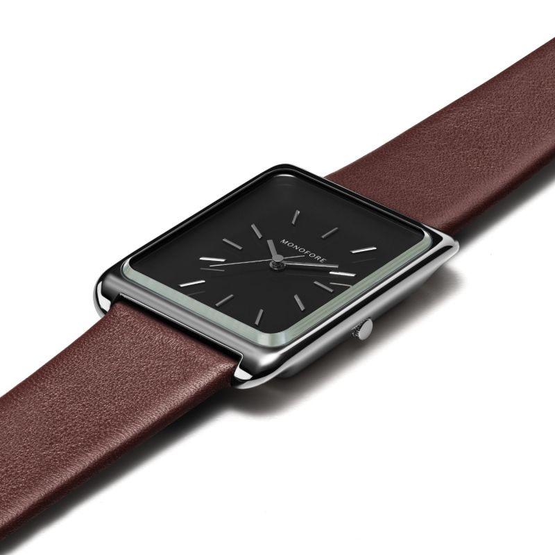 Monofore M01 Silver Black 38mm - Brown Leather image