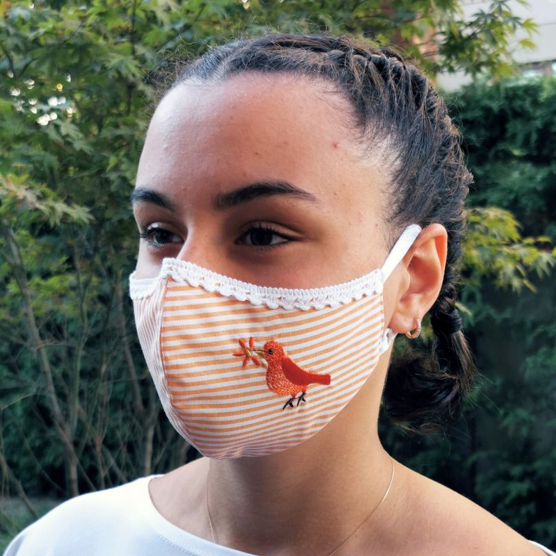 Pack Of 3-Adjustable/Triple Layer Cotton Face Masks With Nose Wire & Embroidery Details - Rainbow image