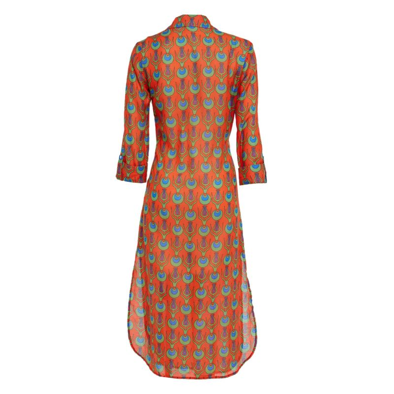 Dress Shirt With Tulip Design In Coral image