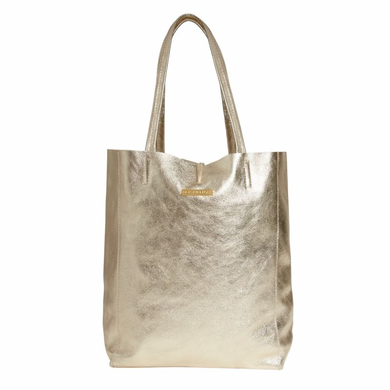 Soft Leather Tote Bag In Gold image