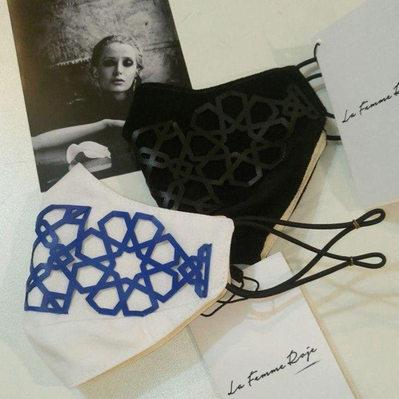 Lili Face Mask- Black Velvet Fabric With White Vegan Laser-Cut Leather image