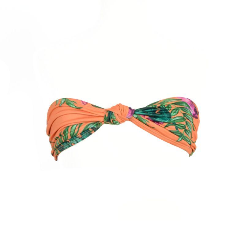 Caipirinha - Coral/Orange Bandeau Top With Purple & Green Flower Pattern image