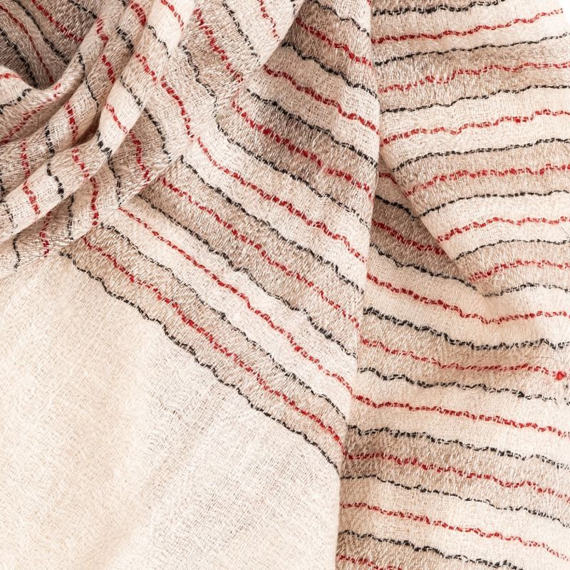 Cream Coloured Cashmere Scarf With Red, Black & Beige Stripes image