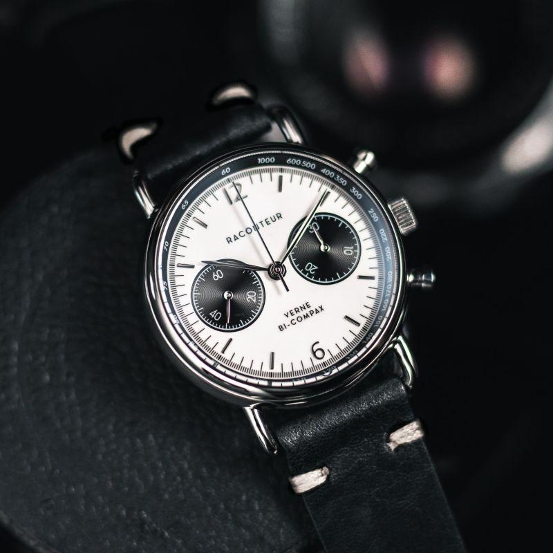 Verne Bi-Compax Silver White - Black Leather image