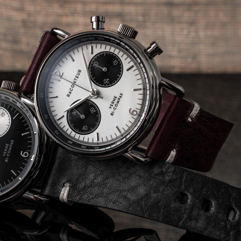 Verne Bi-Compax Silver White - Bordeaux Leather image